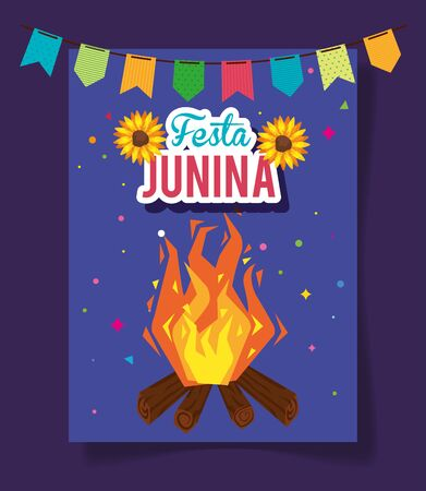 festa junina poster with bonfire and garland hanging vector illustration design Vectores