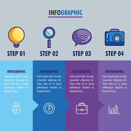 statistical infographic with set icons vector illustration design Ilustração Vetorial