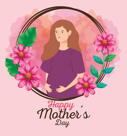 happy mother day card with woman pregnant and flowers decoration vector illustration design