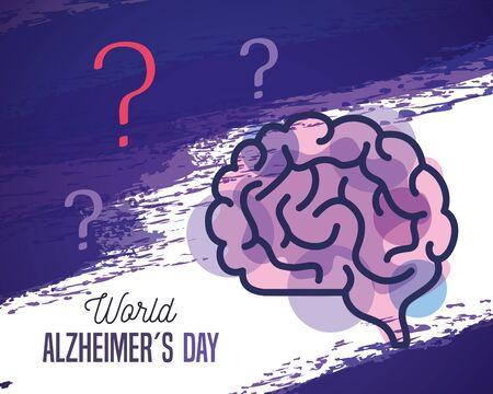 world alzheimer day with brain vector illustration design