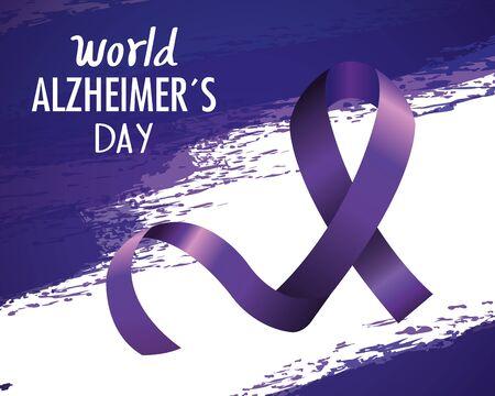 world alzheimer day with purple ribbon vector illustration design 向量圖像