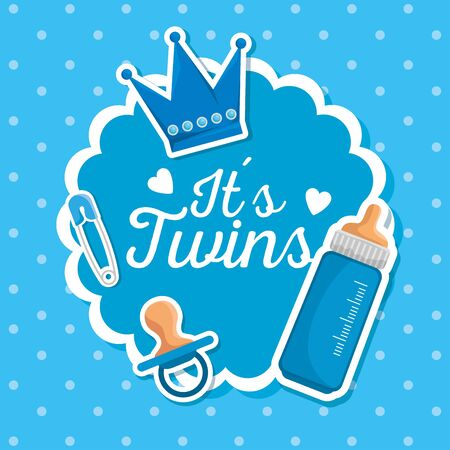label of twins celebration with pacifier and feeding bottle to baby shower vector illustration