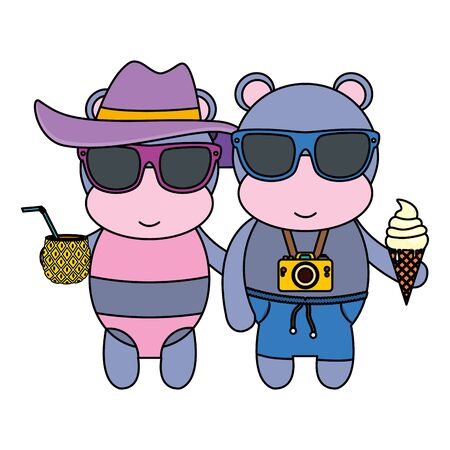 hippos couple with photographic camera and cocktail vector illustration design