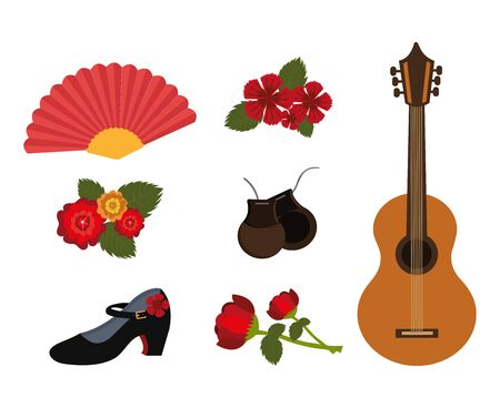 bundle of dance flamenco and set icons vector illustration design
