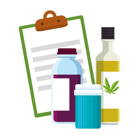 checklist and cannabis bottles products vector illustration design Illustration