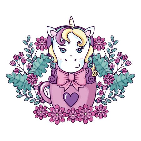 head of cute unicorn fantasy in cup with flowers decoration vector illustration design Ilustração
