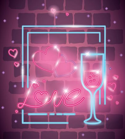 love label in neon light , valentine day vector illustration design