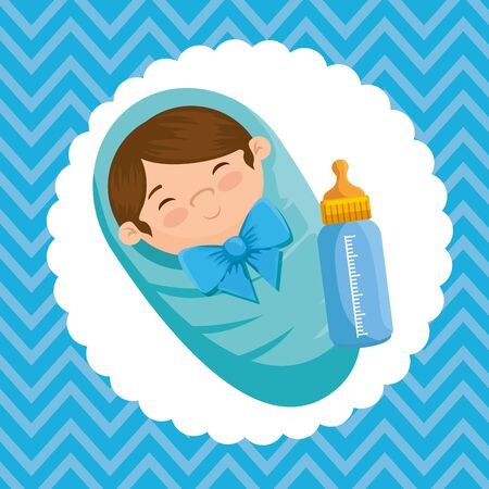 beautiful little boy with feeding bottle to baby shower vector illustration