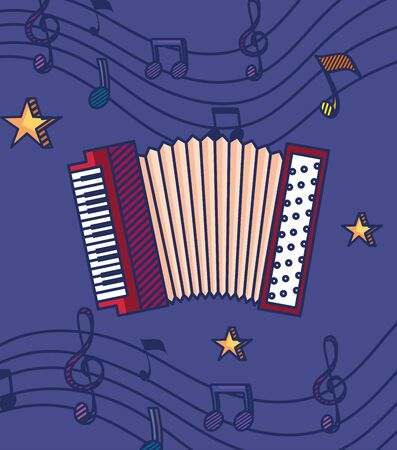 accordeon instrument with stars and treble clef with quaver and beam notes to music melody vector illustration