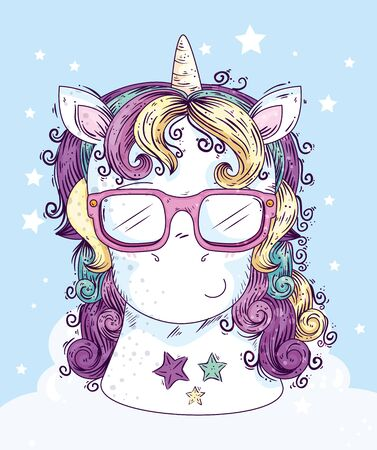 head of cute unicorn fantasy with stars decoration vector illustration design