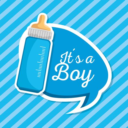 feeding bottle with chat bubble message to baby shower vector illustration 向量圖像