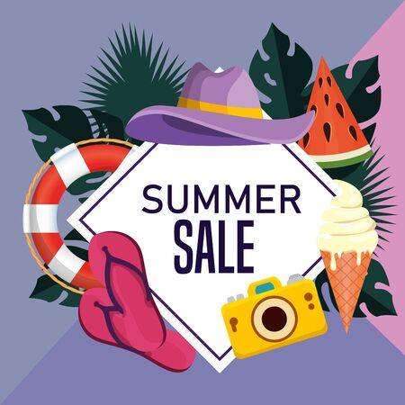 label of summer sale poster with leaves plants and topical fruits vector illustration
