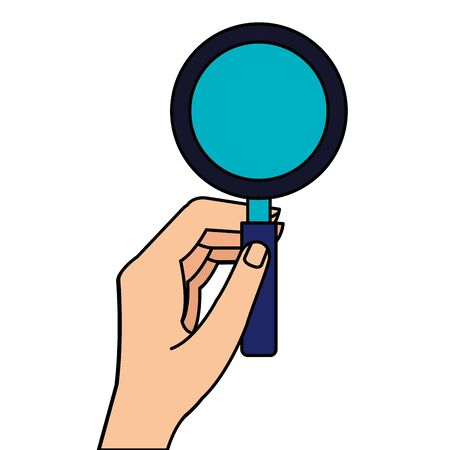 hand with magnifying glass instrument isolated icon vector illustration design 向量圖像