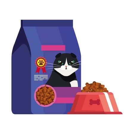 bag and dish food for cat vector illustration design