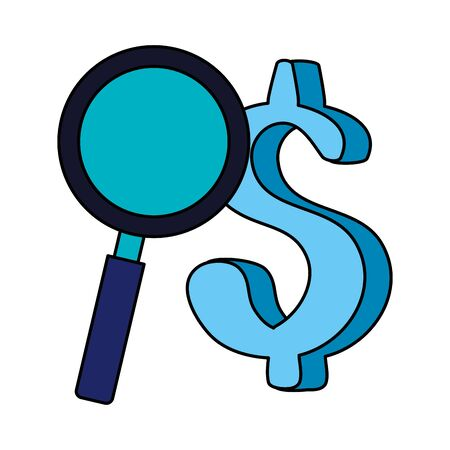 magnifying glass with symbol dollar isolated icon vector illustration design 向量圖像