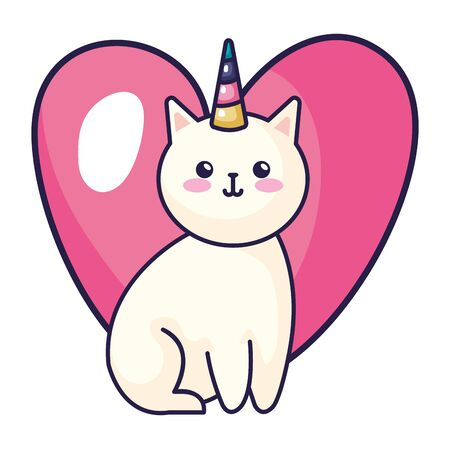 cute cat unicorn with heart icon vector illustration design