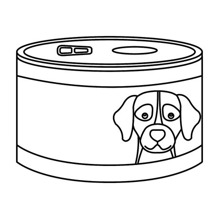 food for dog in can line style icon vector illustration design