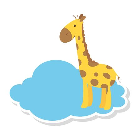 cute giraffe in cloud isolated icon vector illustration design 向量圖像