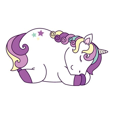 cute unicorn sleeping with stars decoration vector illustration design Ilustração