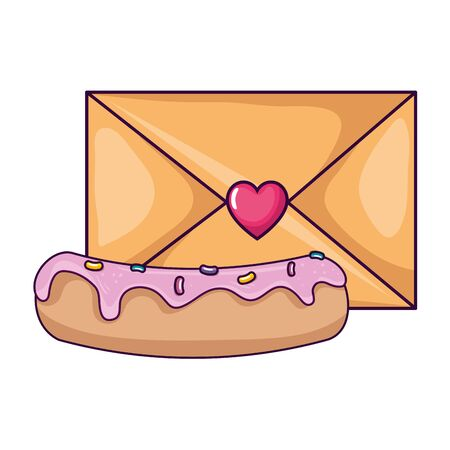 cute envelope with heart and delicious cake vector illustration design