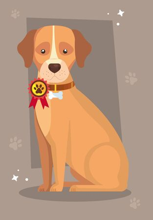 cute dog animal and stamp with paw print vector illustration design