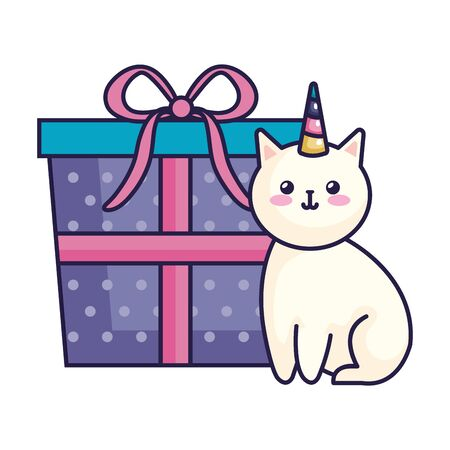 cute cat unicorn with gift box icon vector illustration design Ilustração
