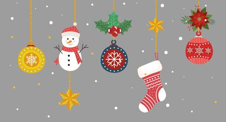 set of decoration christmas hanging vector illustration design