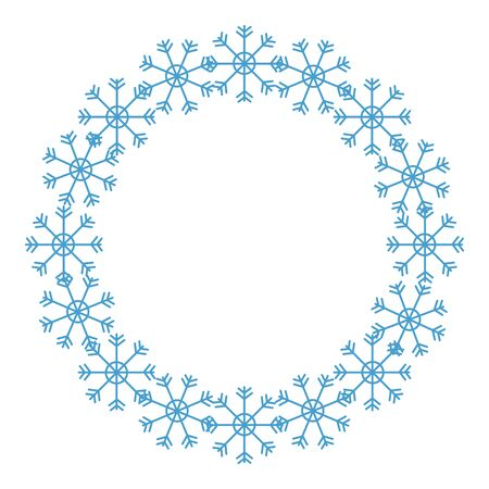 frame circular of snowflakes isolated icon vector illustration design 向量圖像