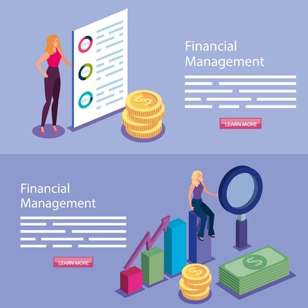 set poster of financial management with people and icons vector illustration design Vektorové ilustrace