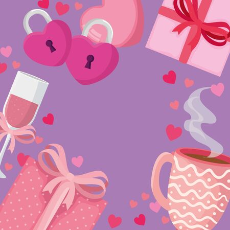 cup champagne with set icons for san valentines day vector illustration design