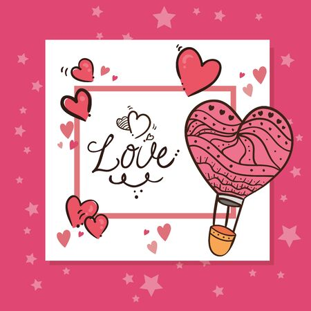 valentines day card with love lettering and decoration vector illustration design 向量圖像