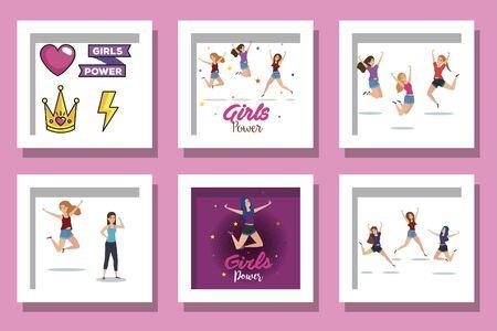 bundle of girl power cards decoration vector illustration design