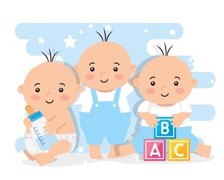 group of cute little babies boys vector illustration design  イラスト・ベクター素材