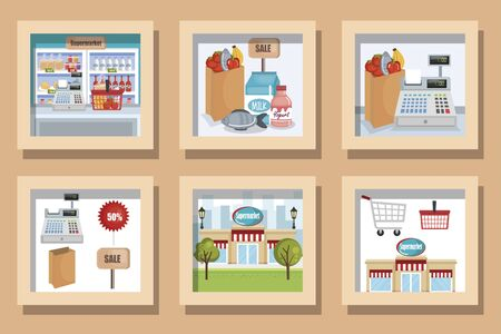 bundle designs of supermarket with icons vector illustration design Vettoriali