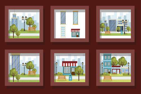 bundle designs of scenes parks landscape and facades structures vector illustration design 向量圖像