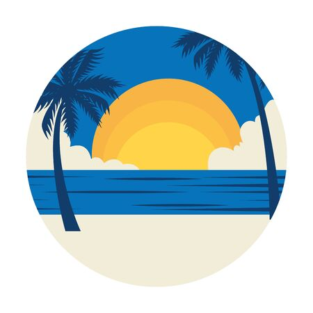 summer landscape with tree palms exotic and sea vector illustration design  イラスト・ベクター素材