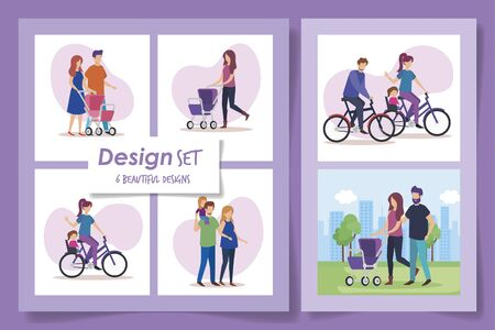 six designs of members family scenes vector illustration design
