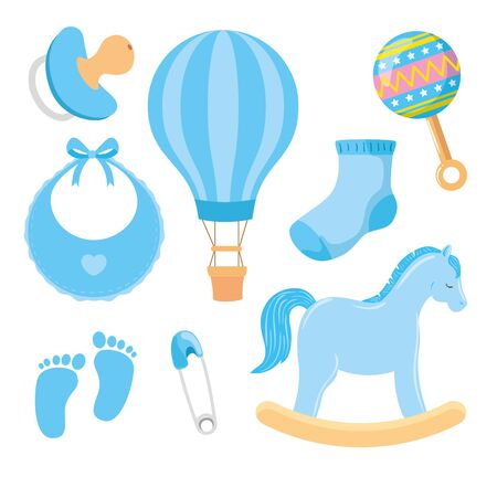 collection of cute icons for little boy vector illustration design