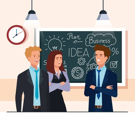 business people and chalkboard with business plan graphics vector illustration design