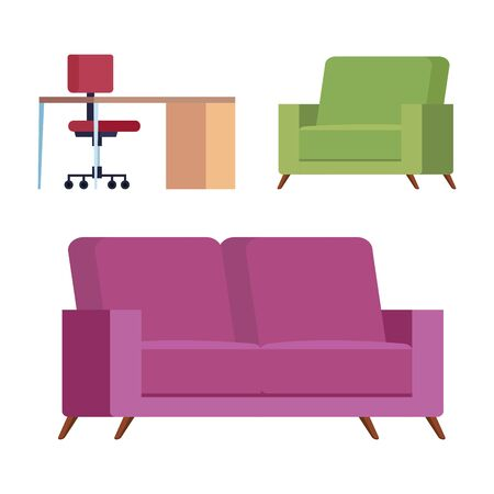 set of couches with desk and chair vector illustration design