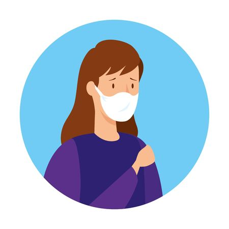 woman sick with protection respiratory vector illustration design Illustration