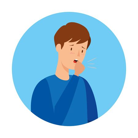 man coughing sick in frame circular isolated icon vector illustration design 向量圖像