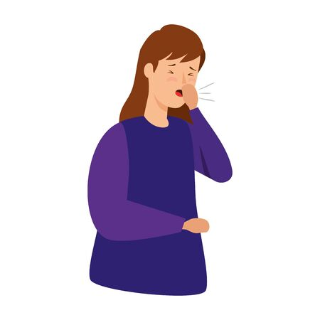 woman coughing sick isolated icon vector illustration design