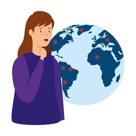 woman with sore throat and world planet isolated icon vector illustration design