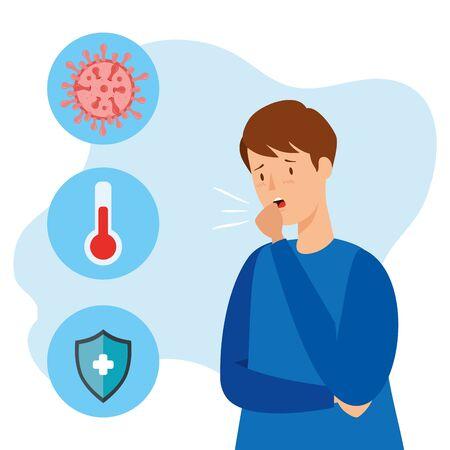 homme malade du coronavirus 2019 ncov avec set icons vector illustration design Vecteurs
