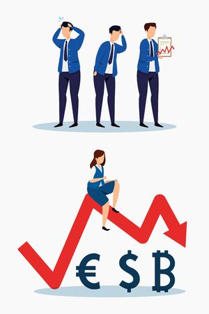 stock market crash set icons vector illustration design