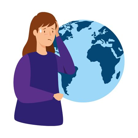 woman with fever and world planet isolated icon vector illustration design