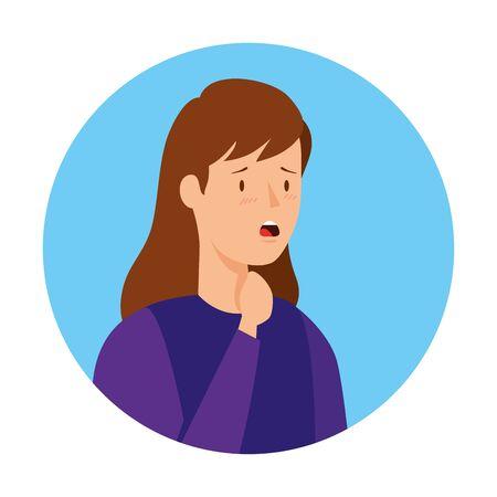 woman with sore throat in frame circular isolated icon vector illustration design