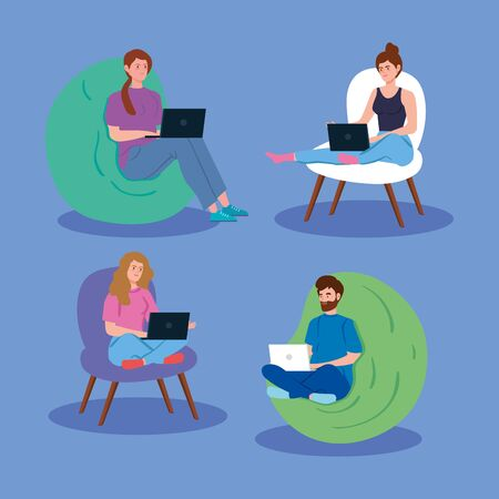 young people working in telecommuting vector illustration design