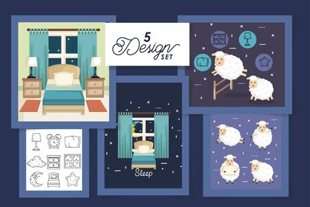 five designs for sleep scenes and cute icons vector illustration design  イラスト・ベクター素材